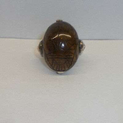 Egyptian Revival Silver Ring SZ 5 US Carved Smokey Topaz Scarab Beetle Pharaohs