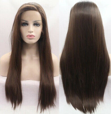 "AU 24"" Synthetic Hair Medium Brown Lace Front Wig Long Straight Party"