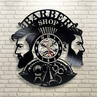 Barber Shop Wall Clock Modern Design Barbershop Vinyl Record Clocks Hairdresser