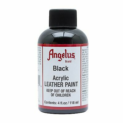 Angelus Black acrylic leather paint / Dye 4 oz bottle NEW For Shoes Bags Boots