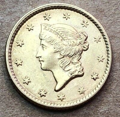 1853 US $1 GOLD Piece Almost Uncirculated Condition