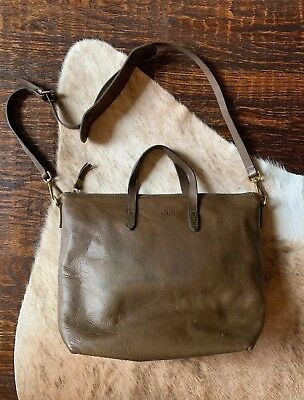 Madewell Large Zip Top Transport Tote Crossbody Messenger Leather Bag  188 e2945f0f52491