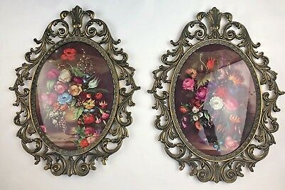 2 Vintage Italy Picture Frame Floral Print Flowers Curved Glass Italian Metal