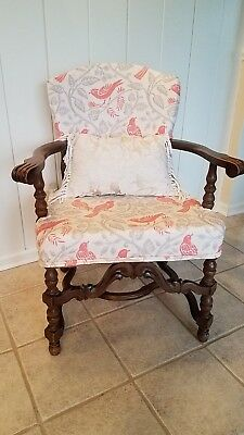 Antique Carved French Armchair late 1800s/ early 1900s, new upholstery