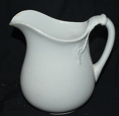 Antique Anchor Pottery White American Ironstone China Water Pitcher Trenton