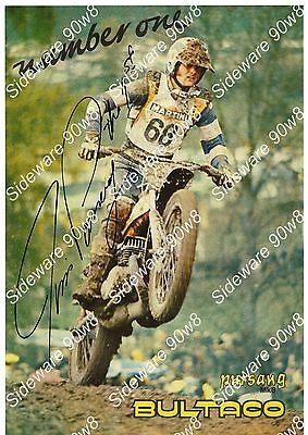 "Jim Pomeroy  Bultaco ""1st Time Ever"" 10 1/ 4"" x 15"" Signed Photo copy / brochure"