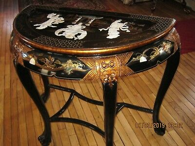 Vintage Oriental Black Lacquer Inlaid Mother Of Pearl Design Half Moon Table