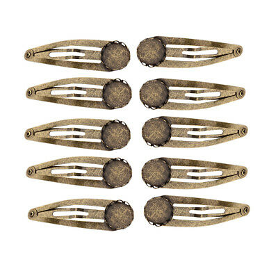 10x Antique Bronze 12mm Cabochon Settings Blank Pins Hair Clips Findings DIY