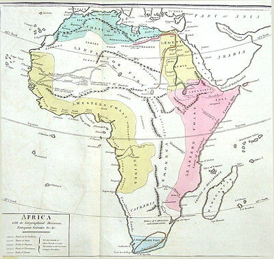 AFRICA,  LE SAGE HISTORICAL ATLAS, Hand Coloured Antique Map 1818