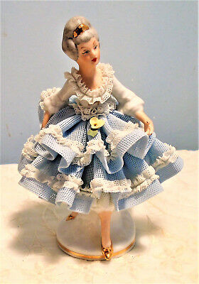 Dresden Porcelain Figurine Lady in Blue & White Lace Dress