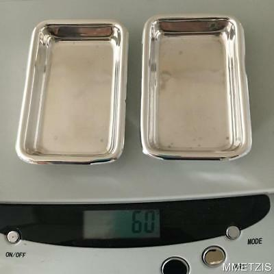 Set Of 2 Poole Sterling Silver Rectangular Butter Pat Trays #81 Vintage Ashtrays