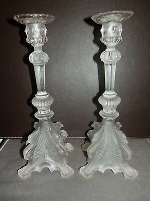 Paire Anciens Chandeliers Griffons Val St Lambert Luxval