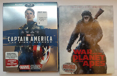 Captain America The First Avenger+War Planet Apes Blu-ray+Slip Cover, No Digital