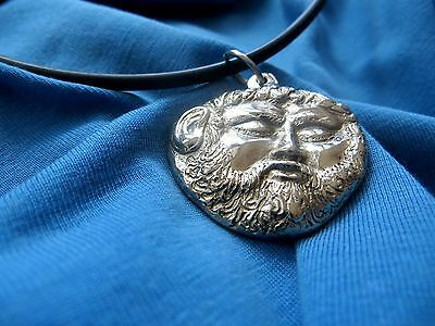 Necklace pendant miniature Mask Thracian King Teres 5th c BC brass silver plated