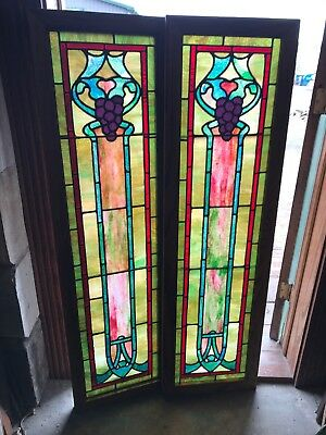 Sg 2709 Match Pair Antique Grape Stained Glass Sidelight Windows 16 X 56