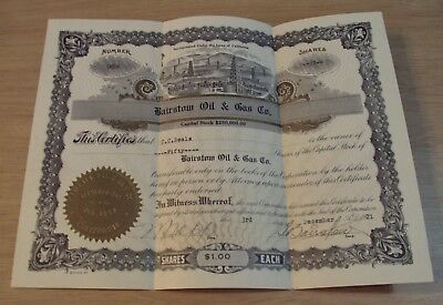 """1921 'CERTIFICATE of Capital Stock'~""""BAIRSTOW OIL & GAS CO.""""~California~"""