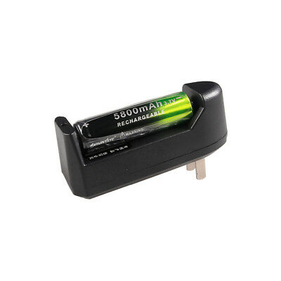 1x 18650 Li-ion Rechargeable Battery & Charger 3.7V Li-ion 5800mAh Torch US Plug