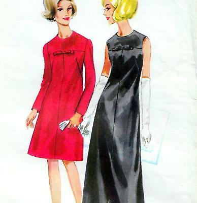 "Vintage 60s DRESS Sewing Pattern Bust 38"" Sz 14 PARTY Evening MOSTLY UNCUT Retro"