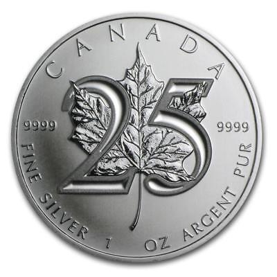 2013 1 oz Canada Silver Maple Leaf 25th Anniversary with Light Spotting (BU)