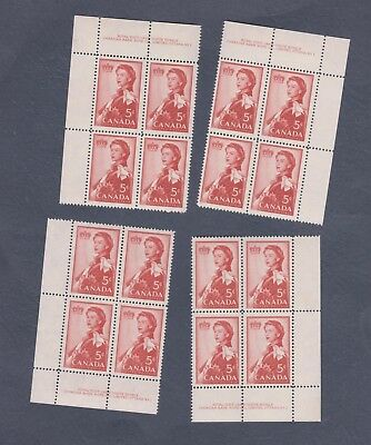 Canada #386 Block set (Pl. 1) Royal Visit Carmine 1959 MNH