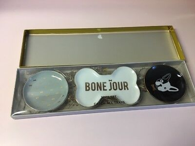NIB: DogHaus 3 piece Bone Jour French Bulldog Catch All Trays Gift Set