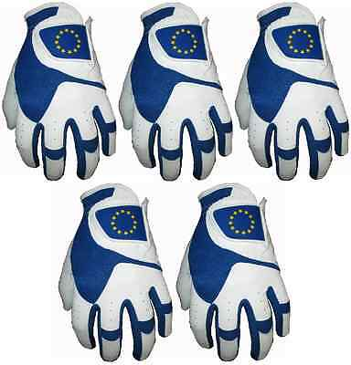 5 Premium Cabretta Leather Golf Gloves 4 Men Gents Support European Ryder Cup