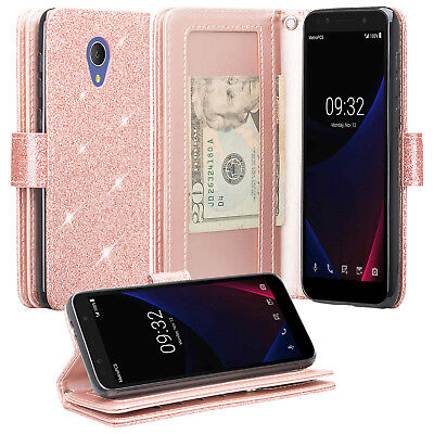 NEW GLITTER LEATHER Flip Wallet Case Phone cover for Alcatel