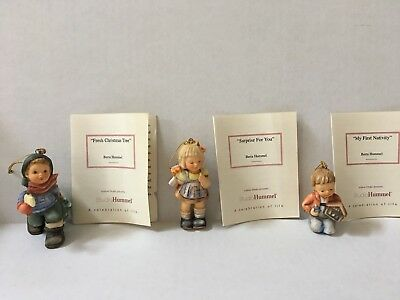 Studio Hummel Set of 3 Christmas Ornament Porcelain Figurines