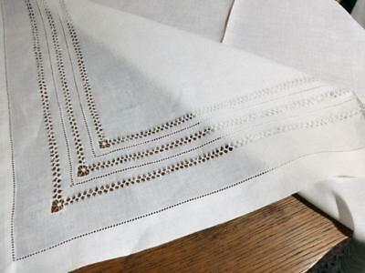 Vintage Pure Linen Tablecloth Drawnwork Lace Hemstitched 35x35
