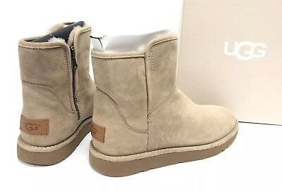 4bcdc33abed UGG ABREE MINI Stardust Gunmetal Metallic Suede Fur Ankle Boots Size ...