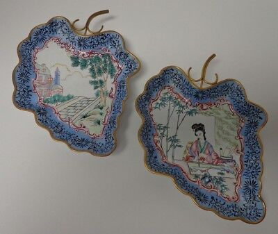 Chinese Vintage Canton Enamel grape-cluster shaped pair of dishes