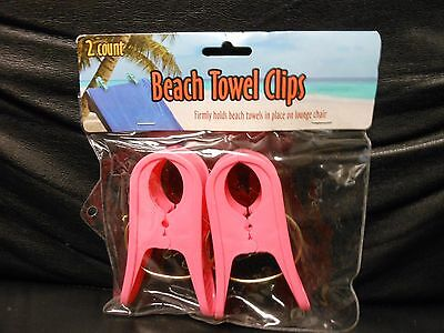 Beach Towel Clips Pink 2-Pack....Used To Hold Towel On Lounge Chair