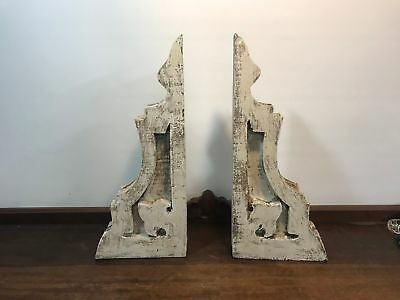 Pair of Large HAND CRAFTED/PAINTED Rustic White wooden Corbel Country Farmhouse