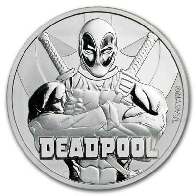 2018 Tuvalu Marvel Series Deadpool 1 oz. Silver $1 Coin In Mint Cap (BU)