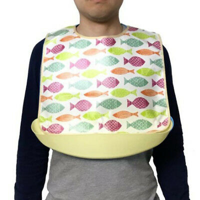 Washable Waterproof Adult Bib Clothing Mealtime Protector with Food Catcher