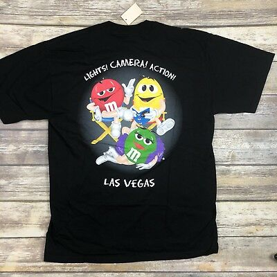 Vintage M&Ms Brand Large Las Vegas 2-Sided Black Shirt Lights Camera Deadstock
