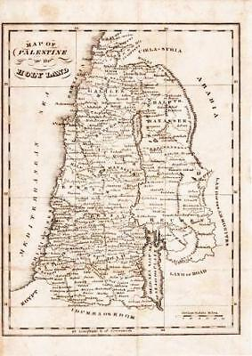 MAP OF PALESTINE OR THE HOLY LAND / 1833 Religion
