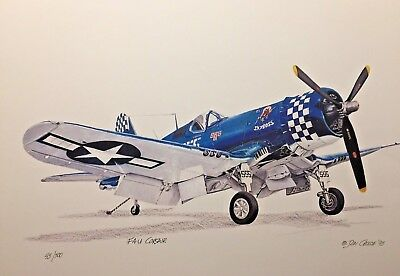 "F4-U Corsair  ""Skyboss"" -Limited Edition Print #45/500 by Don Crouse"