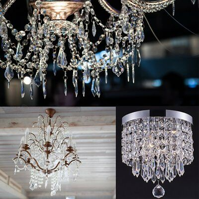30pcs Acrylic Crystals Chandelier Lead Lamp Prisms Parts Hanging Pendent Garland