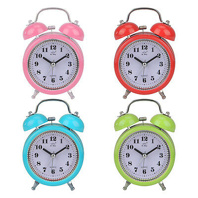 Traditional Retro Mechanical Mental Double Bell Alarm Clock Bedside Table