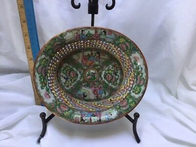Fine Antique Rose Medallion Chestnut Basket w/Tray C. 1850's