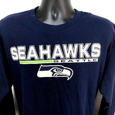 1f6e9839b NFL Team Apparel Seattle Seahawks Majestic Long Sleeve T-Shirt Size L Blue  New