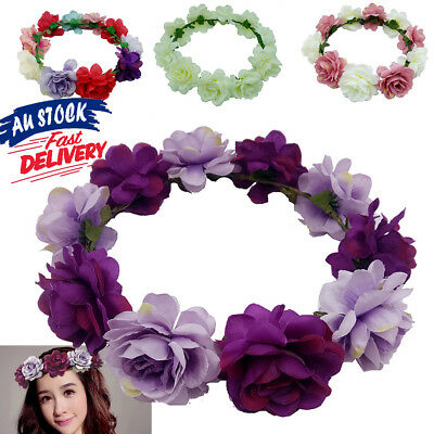 Women Hair Crown Flower Wedding Boho Garland Headpiece Floral Headband Wreath