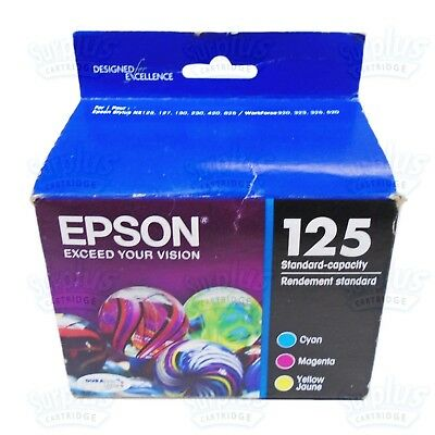 3 Genuine Epson 125 Color Ink WorkForce 320 323 325 520 NX125 NX625 - Retail Box