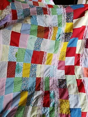 Vintage Unfinished Quilt Top cotton fabric 60 X 74 Homemade Hand Made Patchwork