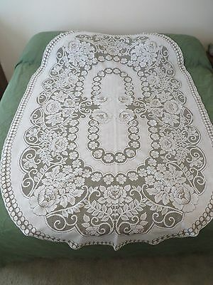 Vintage Taupe & Off White Floral Design Lace Tablecloth 56 X 85 Inch