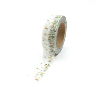 Washi Tape Grassy Field of Flowers Gold Foil Gilded Accents 15mm x 10m