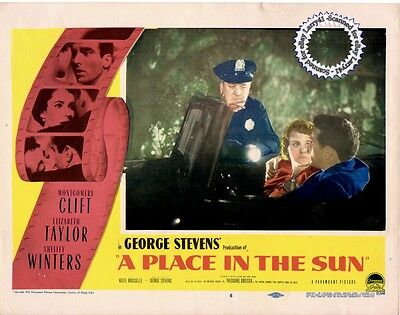 Montgomery CLIFT, Shelley WINTERS, Liz TAYLOR Lobby Card A PLACE IN THE SUN ('51