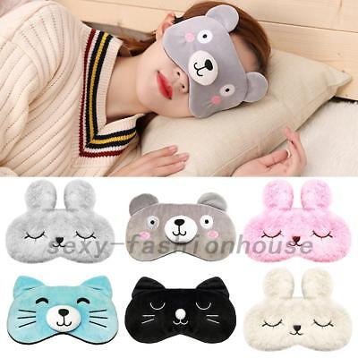 Ladies Girls Cartoon Animal Eye Mask Travel Beauty Sleep Cooling Gel Pad Fluffy
