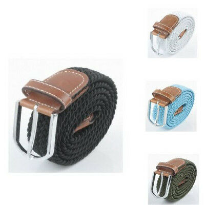Brown Mens Boys Canvas Belts Stretch Braided Woven Stretch Belts Cheap